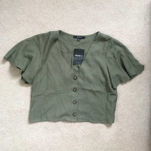Forever 21 Small Olive Button Up Top NWT